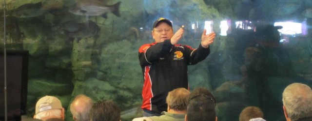 Mel Hedrick discussing tips and tricks for fishing local waters